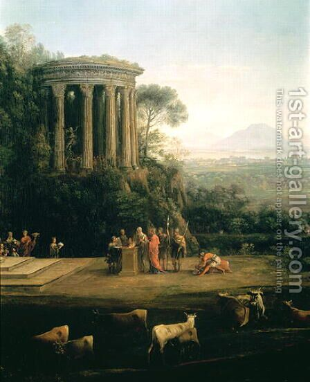 Landscape with the Father of Psyche sacrificing to Apollo by Claude Lorrain (Gellee) - Reproduction Oil Painting