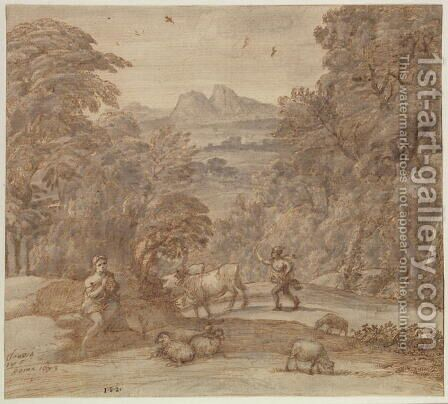 Landscape with Mercury and Apollo as a Shepherd, 1673 by Claude Lorrain (Gellee) - Reproduction Oil Painting