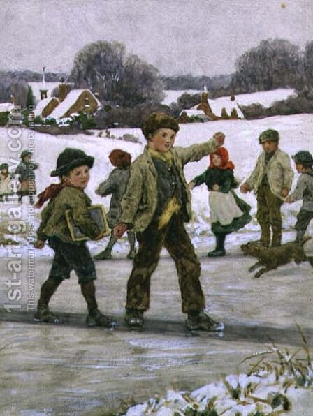 Children Sliding on a Pond by Alice Clausen - Reproduction Oil Painting