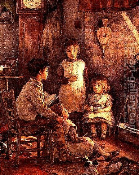Children round the Fire by Alice Clausen - Reproduction Oil Painting