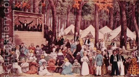 Methodist Camp Meeting, 1836 by Edward Williams Clay (after) - Reproduction Oil Painting
