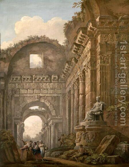 Architectural Ruins, 1765 by Charles-Louis Clerisseau - Reproduction Oil Painting