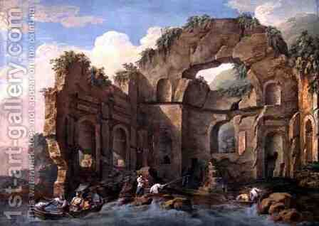 Architectural Ruins, 1771 by Charles-Louis Clerisseau - Reproduction Oil Painting