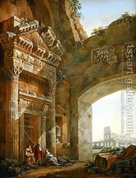 Architectural Ruins (1) by Charles-Louis Clerisseau - Reproduction Oil Painting