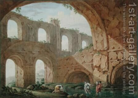 Hadrian's Villa, near Tivoli by Charles-Louis Clerisseau - Reproduction Oil Painting