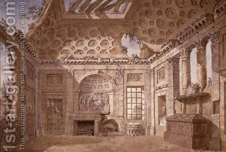Design for Ruin Room of the monastery (now convent) of St. Trinita del Monte, Rome, c.1766 by Charles-Louis Clerisseau - Reproduction Oil Painting