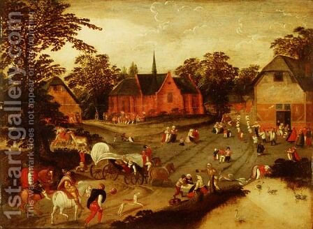 A village with gentlemen arriving on horseback, peasants in a covered wagon and a religious procession by (attr. to) Cleve, Marten van - Reproduction Oil Painting