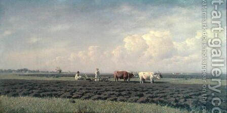 Ploughmen in the Ukraine, 1879 by Clodt von Jurgensburg Mikhail Konstantinovitch - Reproduction Oil Painting