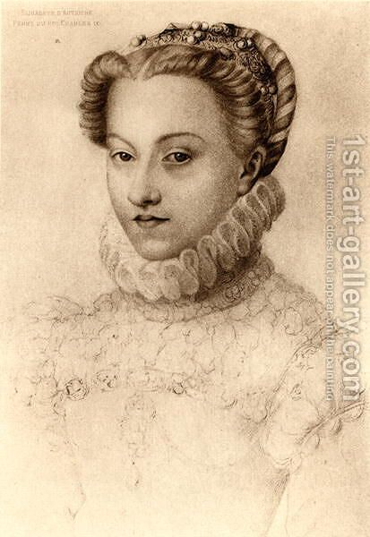 Elizabeth of Austria, Queen of France (1554-92) by (after) Clouet, Francois - Reproduction Oil Painting