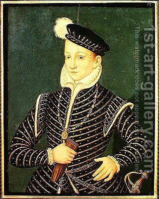Portrait of Charles IX (1550-74) 1565-72 by (after) Clouet, Francois - Reproduction Oil Painting