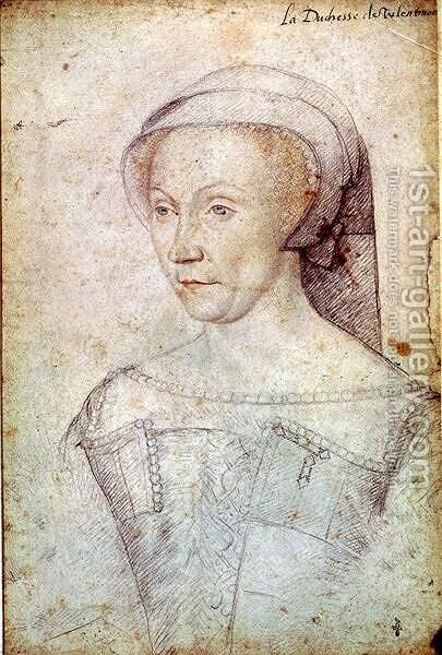 Diane de Poitiers (1499-1566) Duchess of Valentinois, c.1555 by (attr. to) Clouet, Francois - Reproduction Oil Painting