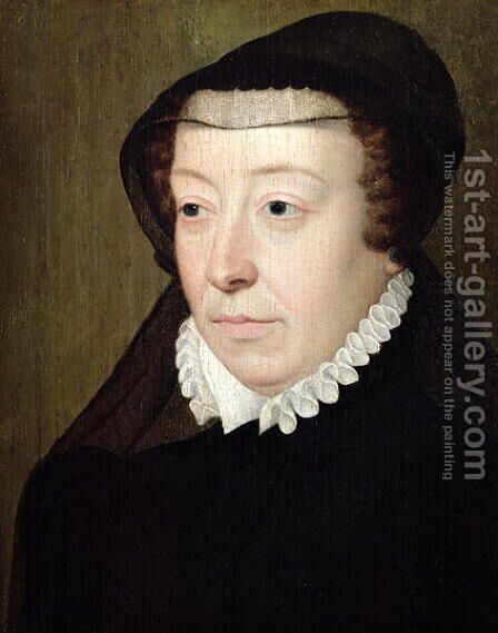 Portrait of Catherine de Medici (1519-89) by (attr. to) Clouet, Francois - Reproduction Oil Painting