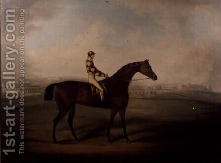 Portrait of Bruitandorf with jockey up and Chester Racecourse Beyond by Daniel Clowes - Reproduction Oil Painting