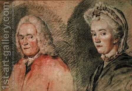 Voltaire (Francois Marie Arouet de Voltaire 1694-1778) and Madame Denis (Marie-Louise Mignot Denis 1712-90), c.1758-70 by Charles-Nicolas II Cochin - Reproduction Oil Painting