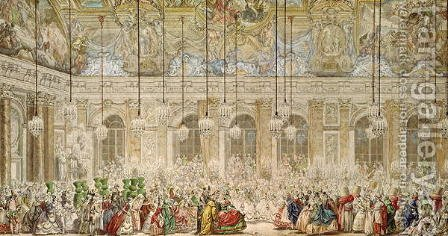 The Masked Ball at the Galerie des Glaces, 17th February 1745 by Charles-Nicolas II Cochin - Reproduction Oil Painting