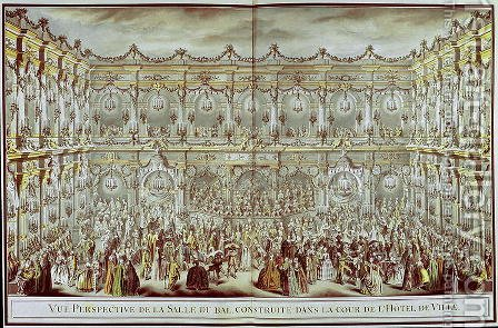 Perspective view of the ballroom constructed in the courtyard of the Hotel de Ville in Paris on the occasion of the Dauphin's first marriage to Marie-Therese (1638-83) Infanta of Spain by Charles-Nicolas II Cochin - Reproduction Oil Painting