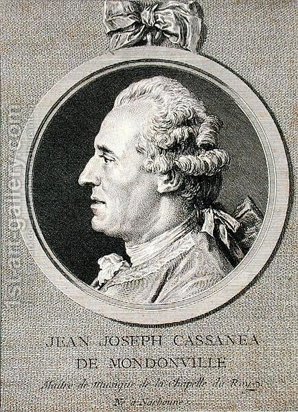 Jean Joseph Cassanea de Mondonville (1711-72) 1768 by (after) Cochin, Charles Nicolas II - Reproduction Oil Painting
