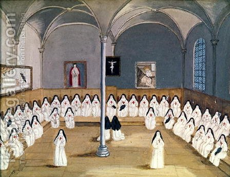 The Sisters of the Abbey from 'L'Abbaye de Port-Royal', c.1710 by (after) Cochin, Louise Madelaine - Reproduction Oil Painting