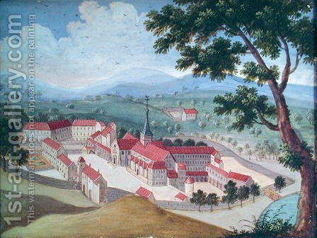 General view of the Abbey from the east, from 'l'Abbaye de Port-Royal', c.1710 by (after) Cochin, Louise Madelaine - Reproduction Oil Painting