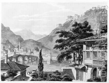 Town of Berat in early 19th century, from 'Travels in Sicily, Greece and Albania' by (after) Cockerell, Charles Robert - Reproduction Oil Painting
