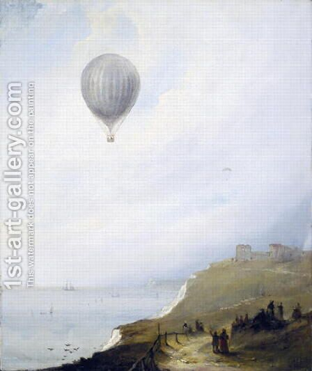 Balloon Over Cliffs, Dover, 1840 by E.W. Cocks - Reproduction Oil Painting
