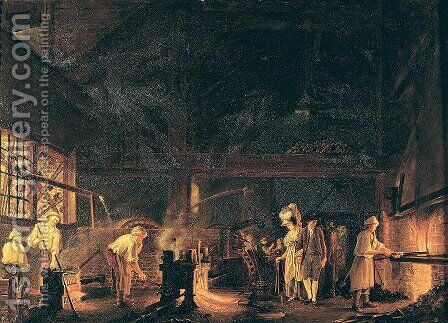 Interior of a Forge, 1771 by Jean Baptiste Bernard Coclers - Reproduction Oil Painting