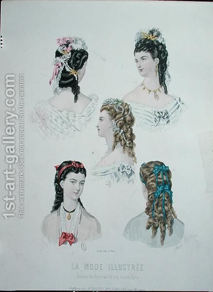 Hairstyles with ribbons, illustration from 'La Mode Illustree', 1872 by Anais Codouze - Reproduction Oil Painting