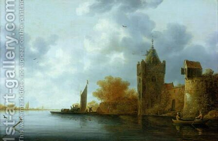 River estuary with a tower and fortified walls, ferry embarking by Jan Coelenbier - Reproduction Oil Painting