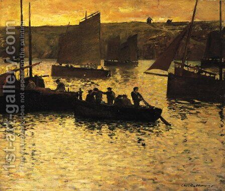 In the Port, 1895 by Charles Cottet - Reproduction Oil Painting