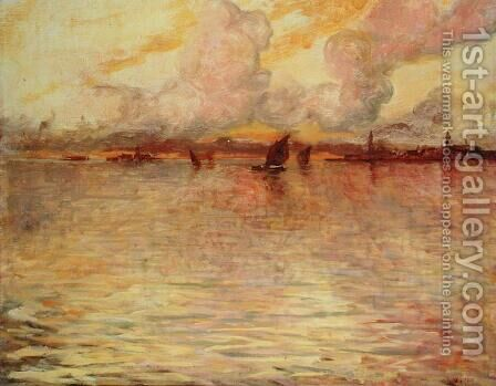 Seascape with Distant View of Venice, 1896 by Charles Cottet - Reproduction Oil Painting