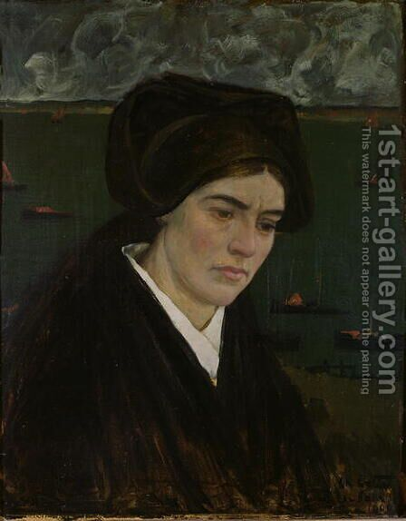 Young Woman at Ile de Sein, 1909 by Charles Cottet - Reproduction Oil Painting