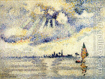 Sunset on the Lagoon, Venice, c.1903-04 by Henri Edmond Cross - Reproduction Oil Painting
