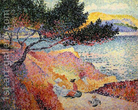 La Plage de Saint-Clair, 1906-07 by Henri Edmond Cross - Reproduction Oil Painting