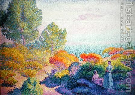 Landscape with Two Women, 1895 by Henri Edmond Cross - Reproduction Oil Painting