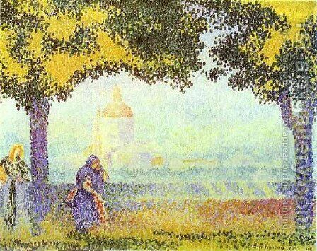 View of the Church of Santa Maria degli Angeli, near Assisi, 1909 by Henri Edmond Cross - Reproduction Oil Painting