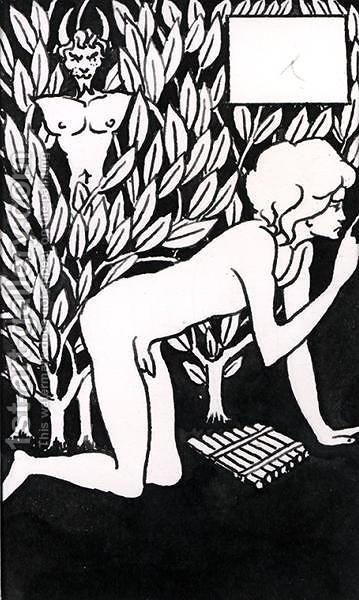 Chapter heading for 'Le Morte d'Arthur', 1893 (8) by Aubrey Vincent Beardsley - Reproduction Oil Painting