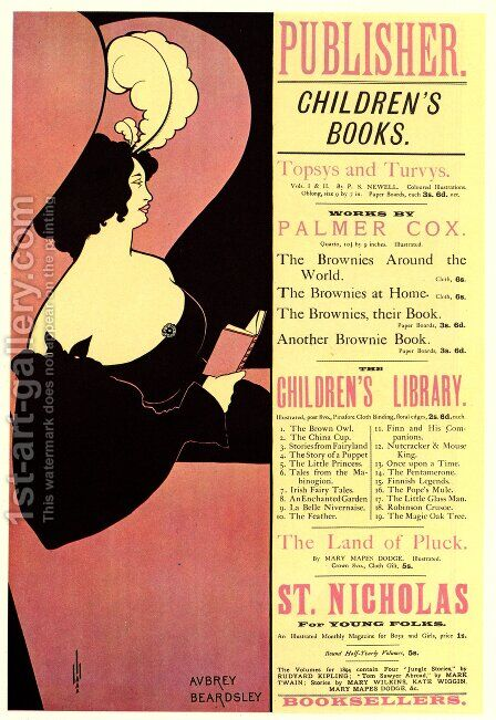 Advertisement for Children's Books, 1894 by Aubrey Vincent Beardsley - Reproduction Oil Painting