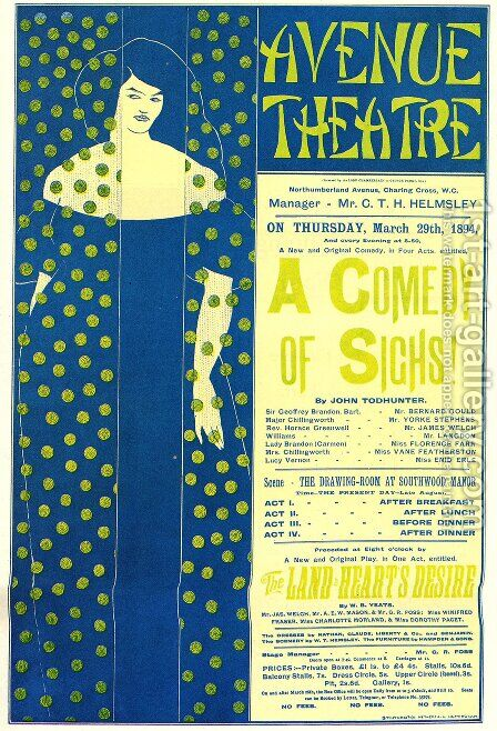 Poster advertising 'A Comedy of Sighs', a play, 1894 by Aubrey Vincent Beardsley - Reproduction Oil Painting