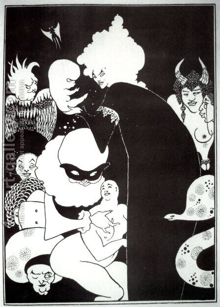Lucian's Strange Creatures, illustration from 'Lucian's True History', c.1894 by Aubrey Vincent Beardsley - Reproduction Oil Painting
