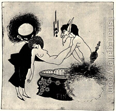 Tail-piece from 'Salome' by Oscar Wilde (1854-1900) by Aubrey Vincent Beardsley - Reproduction Oil Painting