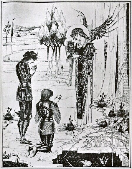 The achieving of the Sangreal, from 'Le Morte d'Arthur', 1893-94 by Aubrey Vincent Beardsley - Reproduction Oil Painting