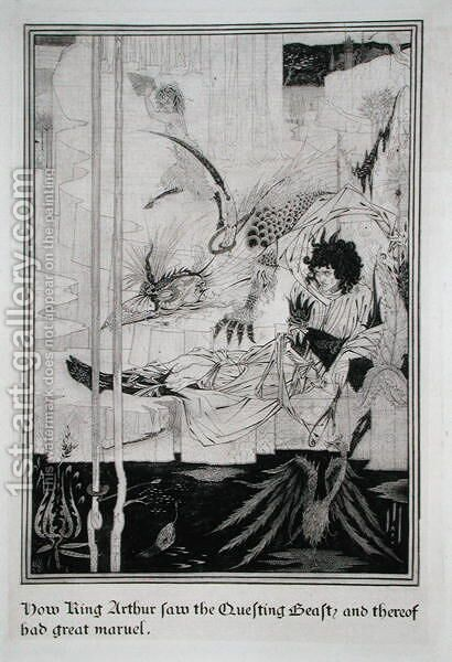 Now King Arthur saw the Questing Beast and thereof had great marvel, from 'Le Morte d'Arthur by Aubrey Vincent Beardsley - Reproduction Oil Painting