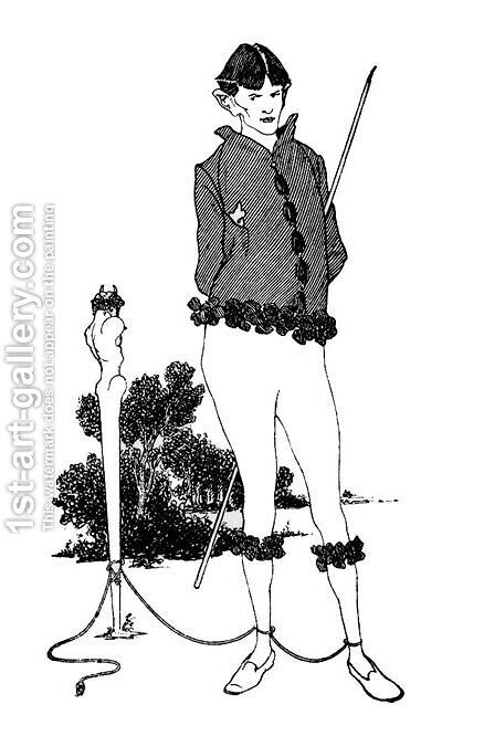 Self Portrait Tied to a Herm by Aubrey Vincent Beardsley - Reproduction Oil Painting