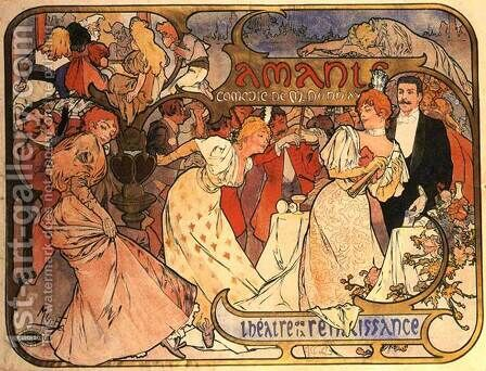 Amants, 1895 by Alphonse Maria Mucha - Reproduction Oil Painting