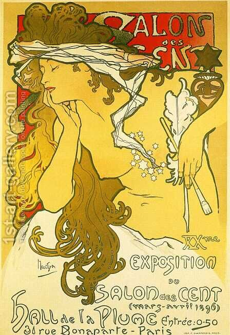 Salon des Cent, 1896 by Alphonse Maria Mucha - Reproduction Oil Painting