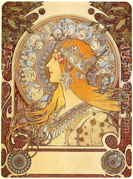 Zodiac, 1896 by Alphonse Maria Mucha - Reproduction Oil Painting