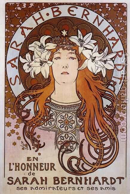 Sarah Bernhardt. 1896 by Alphonse Maria Mucha - Reproduction Oil Painting