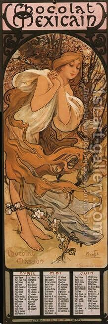 The Four Seasons: Spring. 1897 by Alphonse Maria Mucha - Reproduction Oil Painting