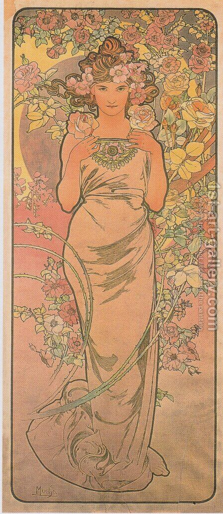 Rose. From The Flowers Series. 1898 by Alphonse Maria Mucha - Reproduction Oil Painting