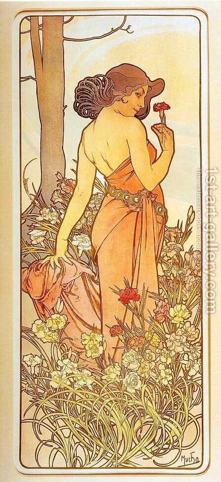 Carnation. From The Flowers Series. 1898 by Alphonse Maria Mucha - Reproduction Oil Painting